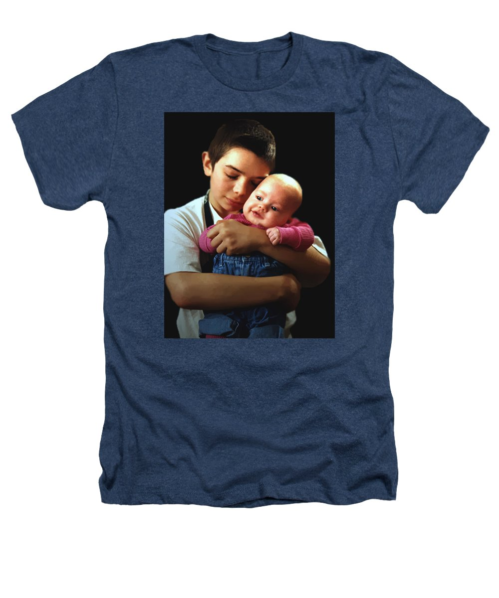 Children Heathers T-Shirt featuring the photograph Boy With Bald-headed Baby by RC deWinter