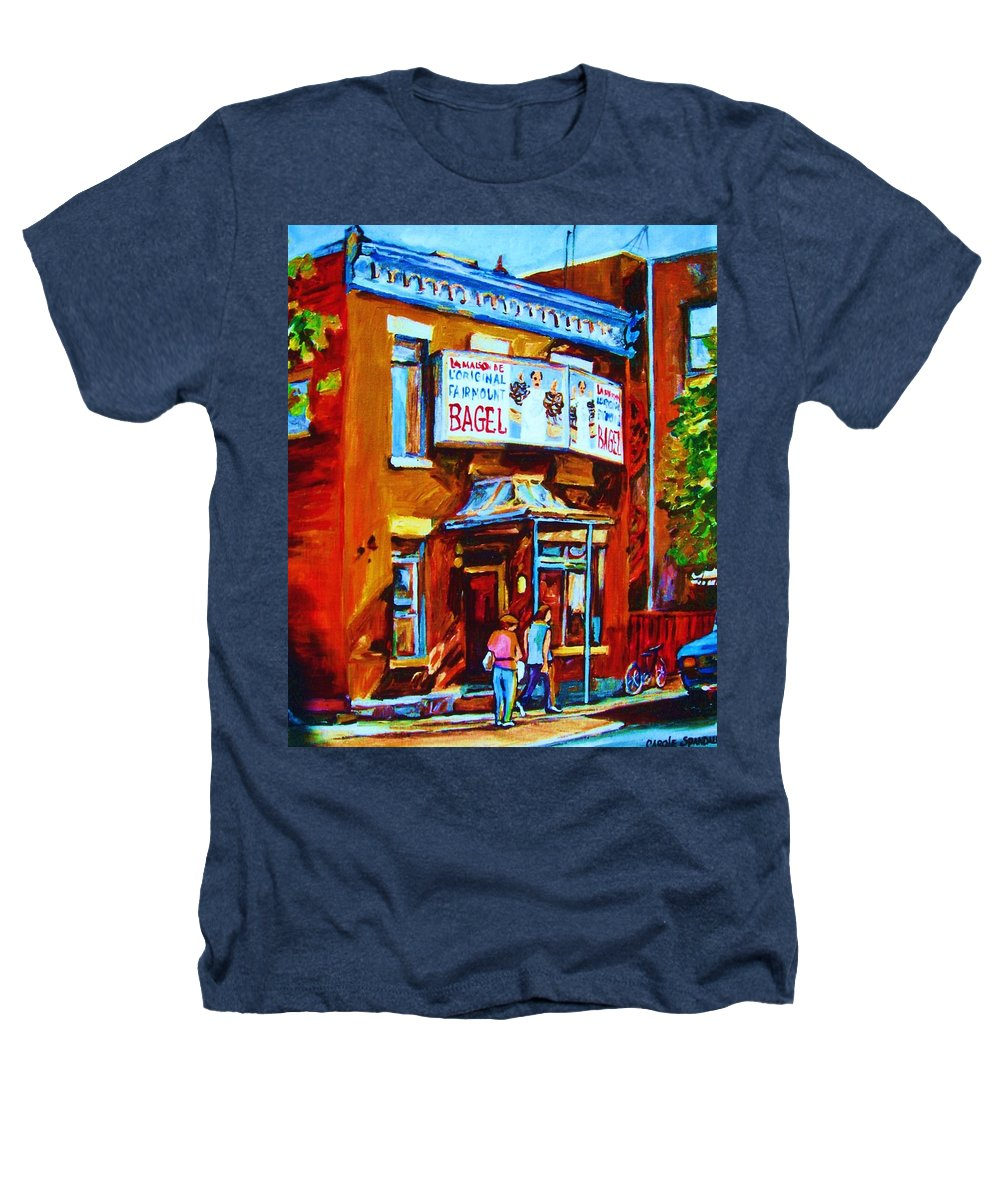 Fairmount Bagel Heathers T-Shirt featuring the painting Breakfast At The Bagel Cafe by Carole Spandau
