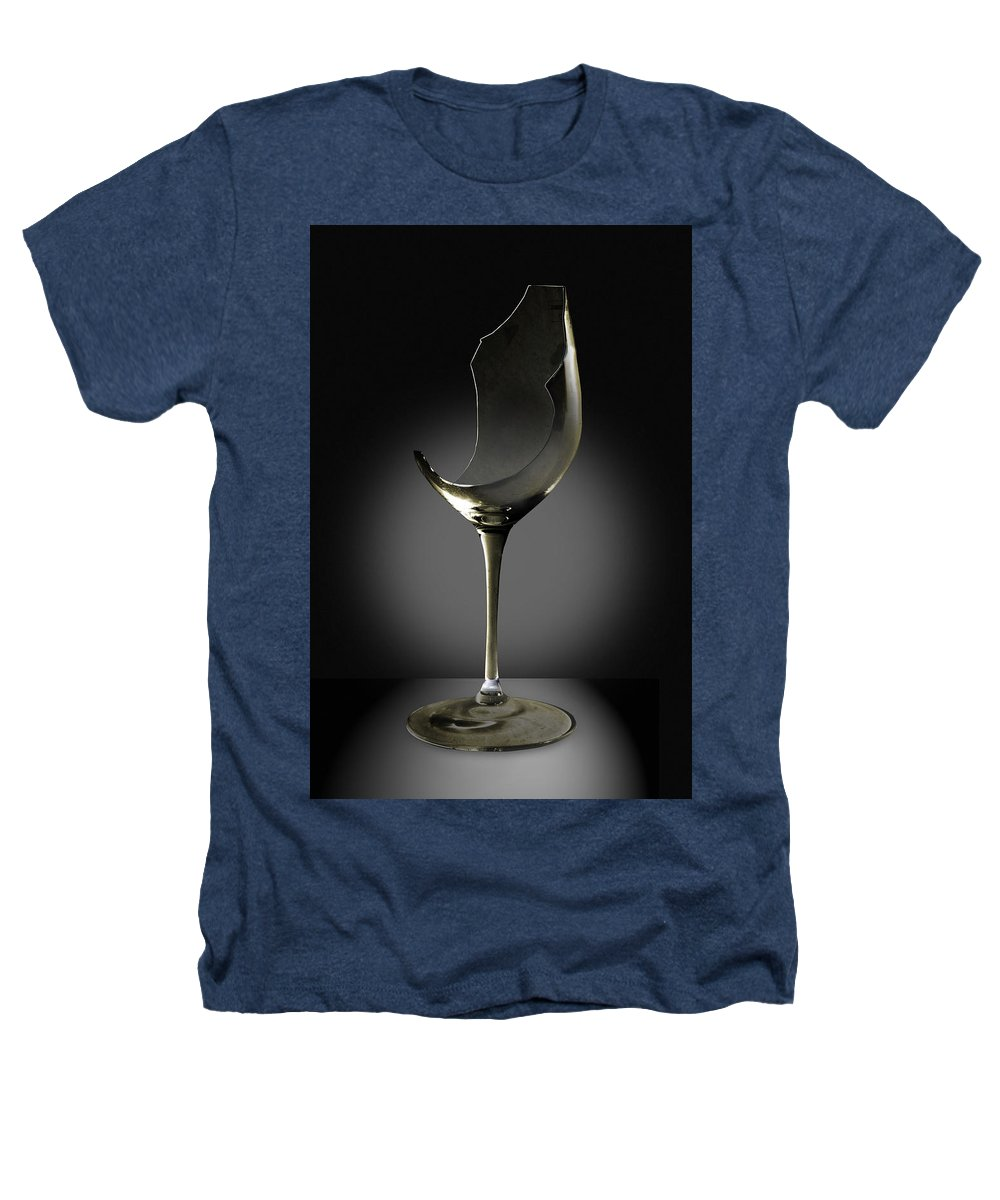 Glassware Heathers T-Shirt featuring the photograph Broken Wine Glass by Yuri Lev