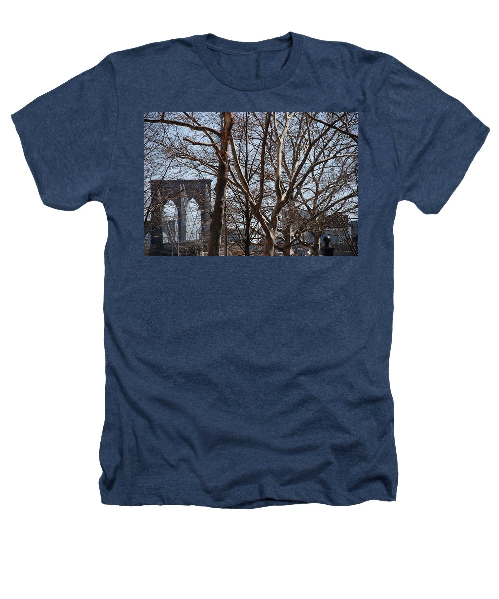 Architecture Heathers T-Shirt featuring the photograph Brooklyn Bridge Thru The Trees by Rob Hans