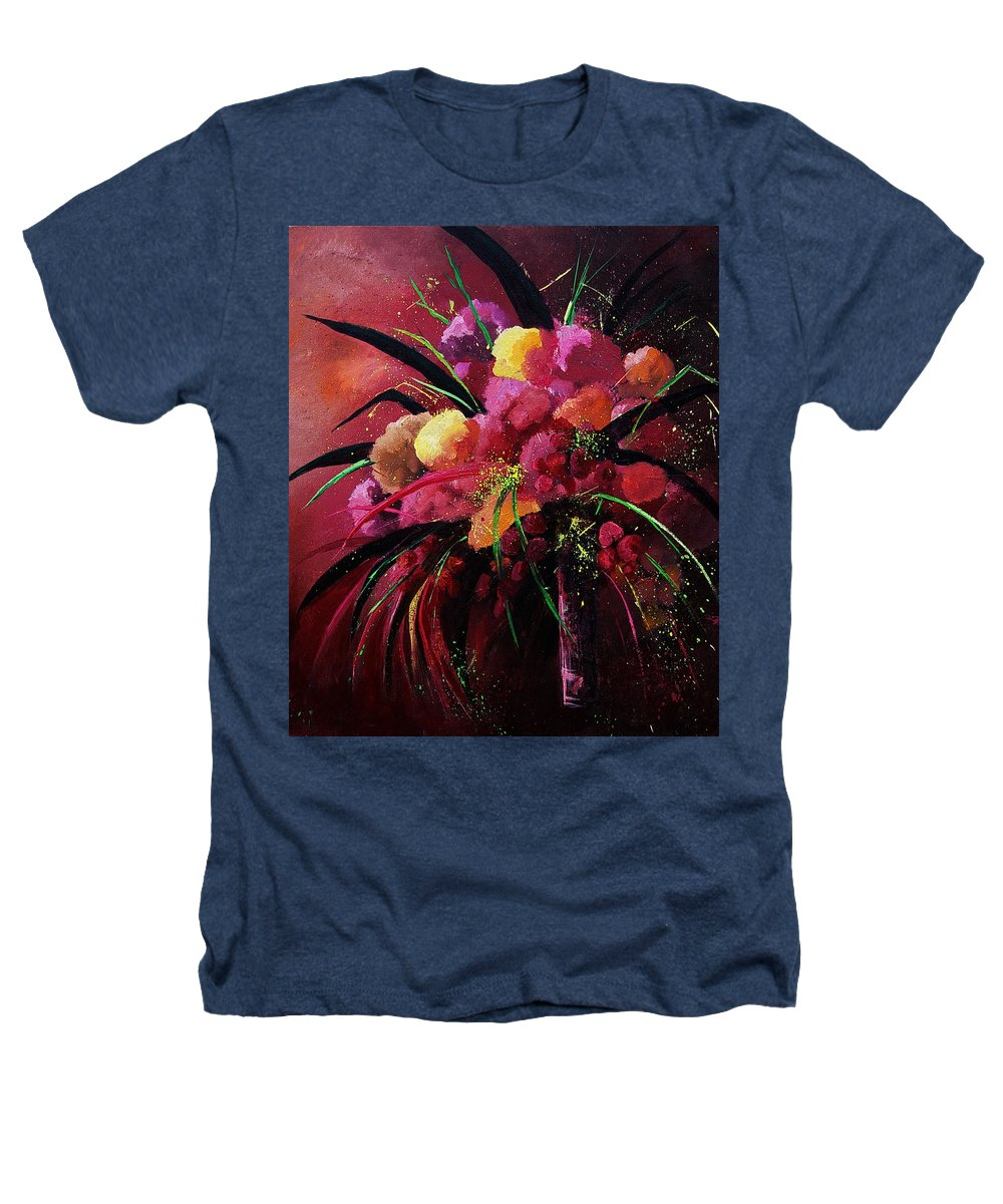 Flowers Heathers T-Shirt featuring the painting Bunch Of Red Flowers by Pol Ledent