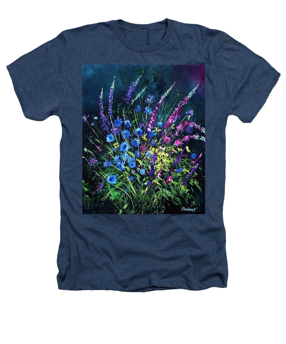Poppies Heathers T-Shirt featuring the painting Bunch Of Wild Flowers by Pol Ledent