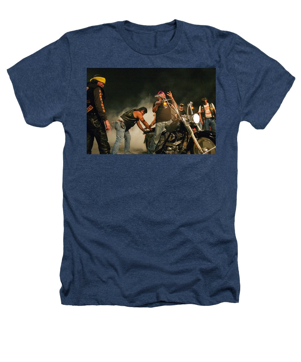 Biker Heathers T-Shirt featuring the photograph Burn Out by Skip Hunt