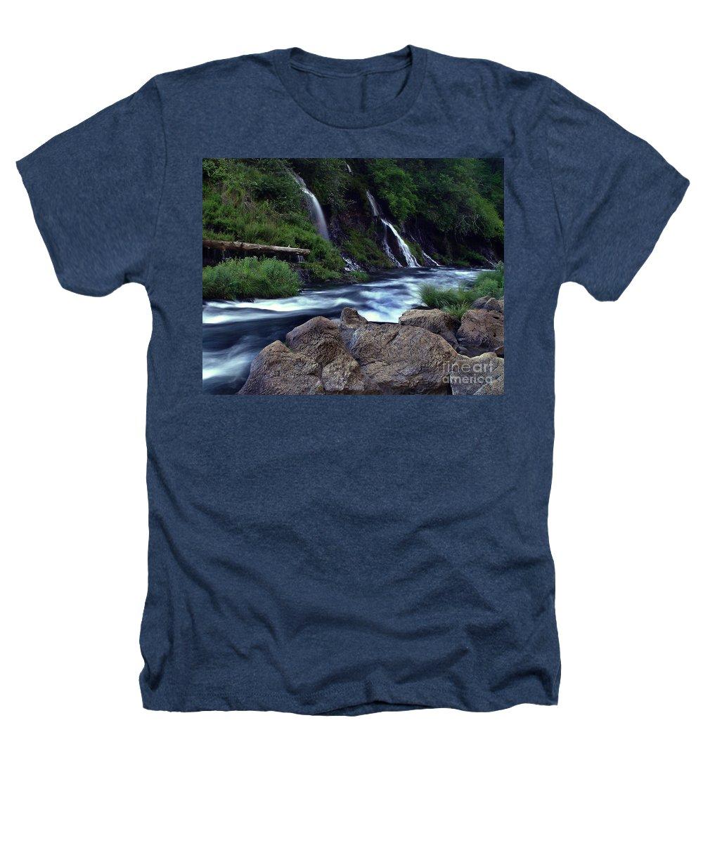 River Heathers T-Shirt featuring the photograph Burney Falls Creek by Peter Piatt