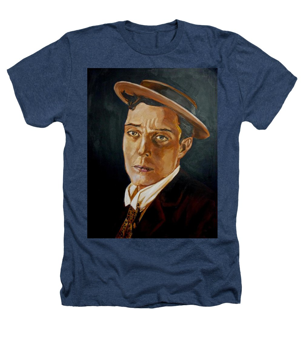 Comedy Heathers T-Shirt featuring the painting Buster Keaton Tribute by Bryan Bustard