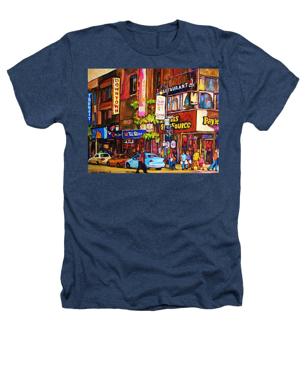 Cityscape Heathers T-Shirt featuring the painting Busy Downtown Street by Carole Spandau