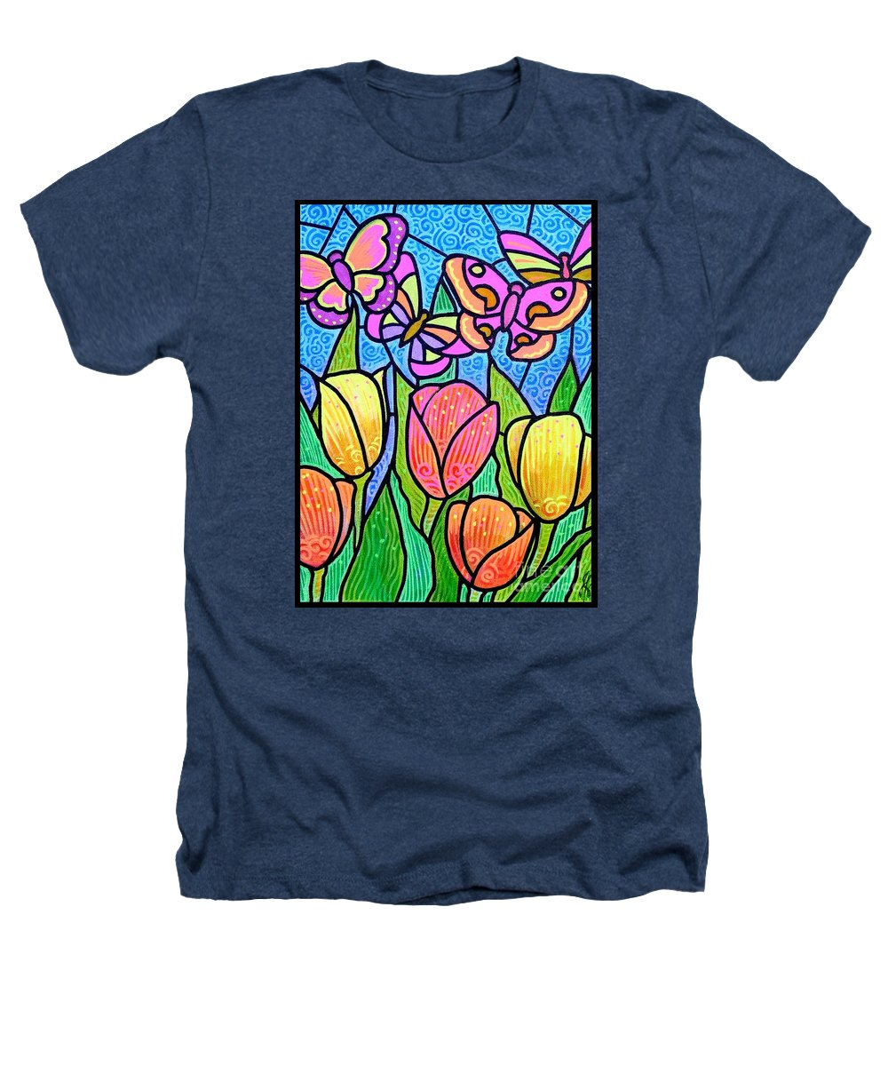 Butterflies Heathers T-Shirt featuring the painting Butterflies In The Tulip Garden by Jim Harris