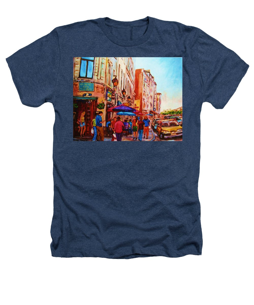 Montreal Heathers T-Shirt featuring the painting Cafe Creme by Carole Spandau