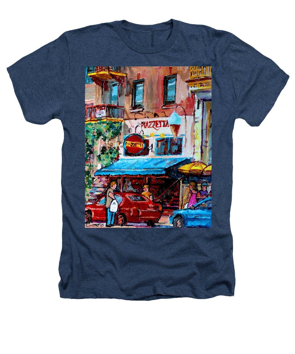 Cafes On St Denis Paris Cafes Heathers T-Shirt featuring the painting Cafe Piazzetta St Denis by Carole Spandau