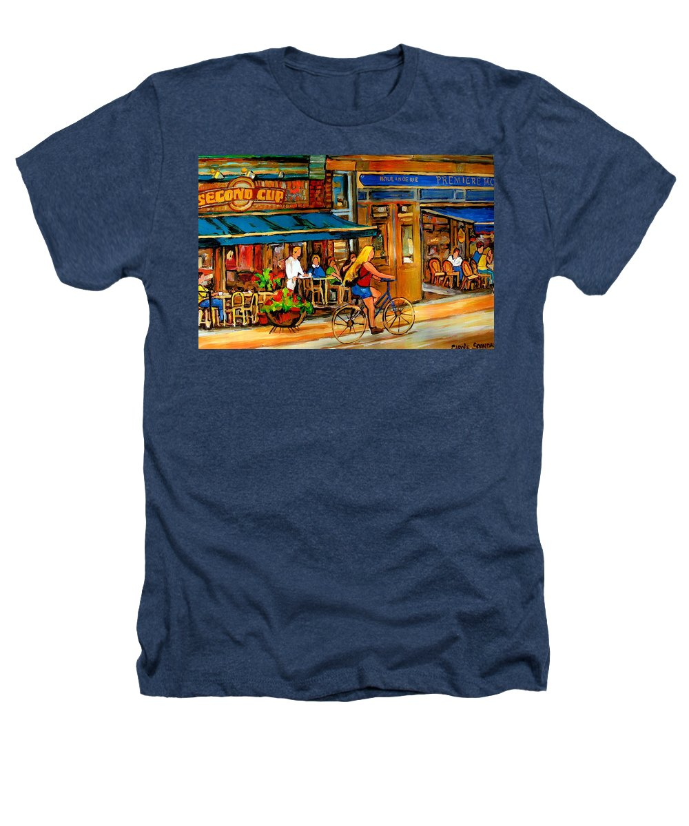 Cafes Heathers T-Shirt featuring the painting Cafes With Blue Awnings by Carole Spandau