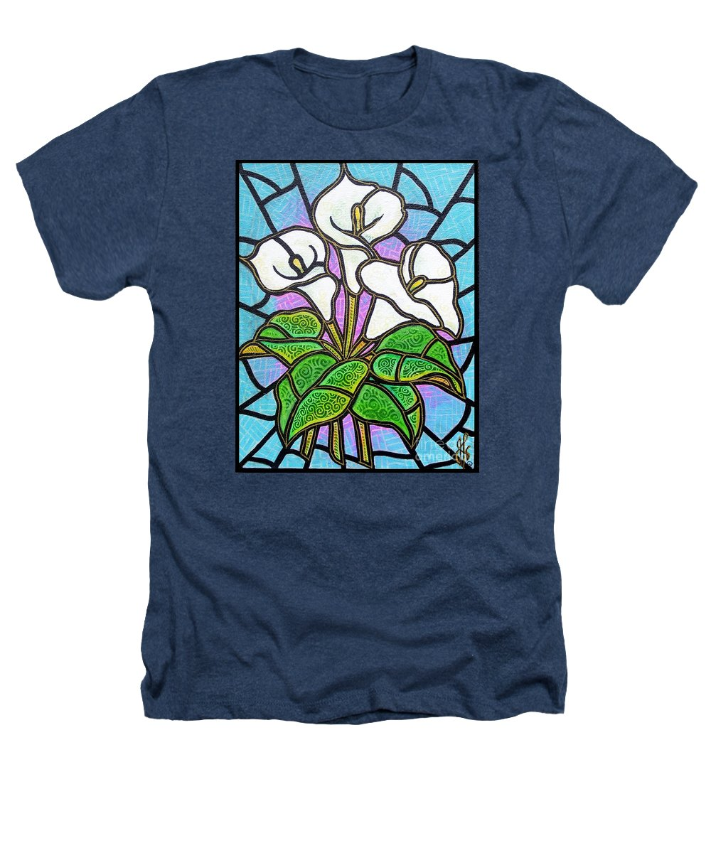 Flowers Heathers T-Shirt featuring the painting Calla Lilies 3 by Jim Harris