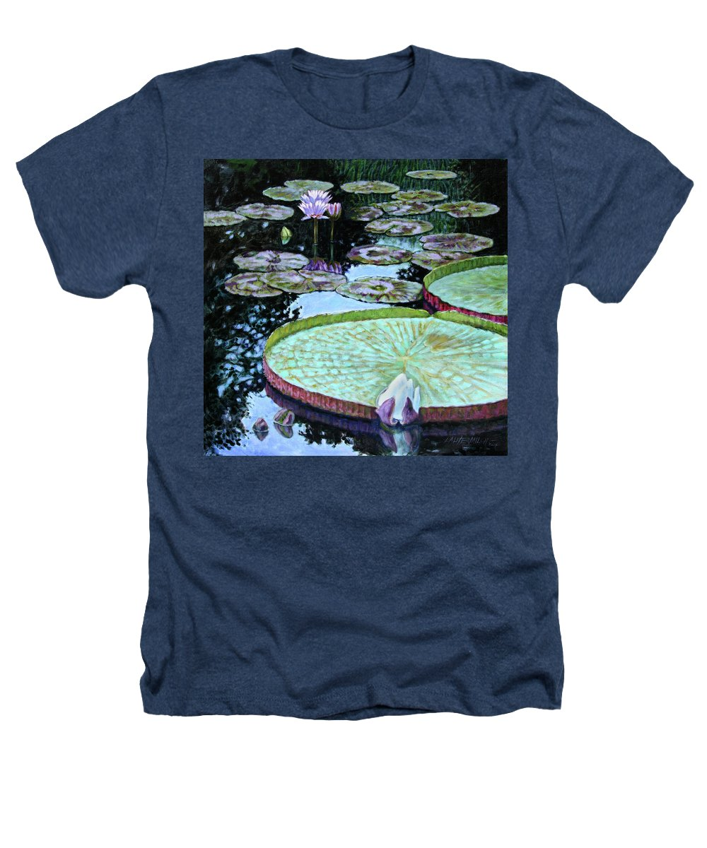 Water Lilies Heathers T-Shirt featuring the painting Calm Reflections by John Lautermilch