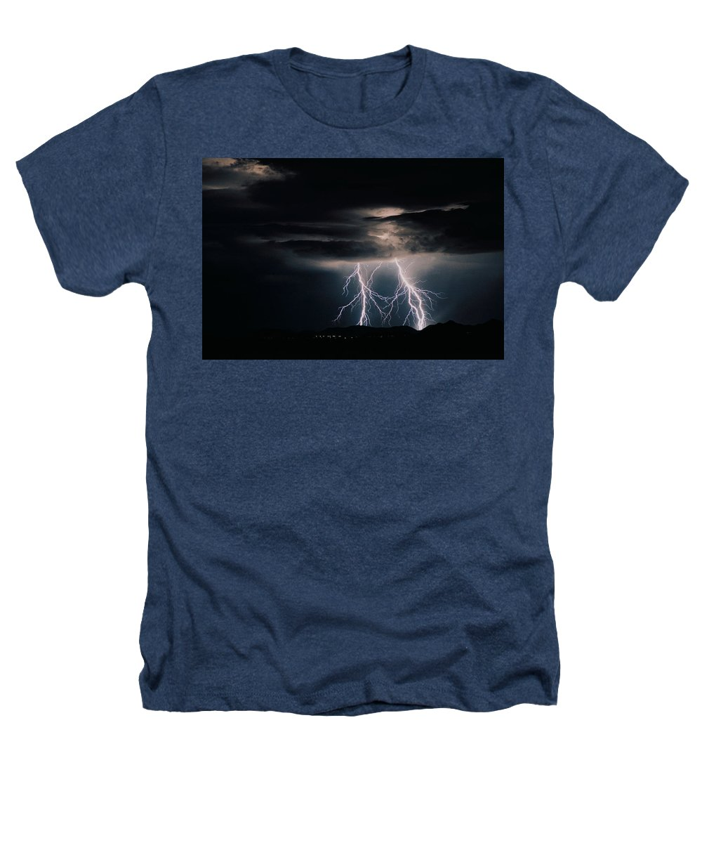 Arizona Heathers T-Shirt featuring the photograph Carefree Lightning by Cathy Franklin