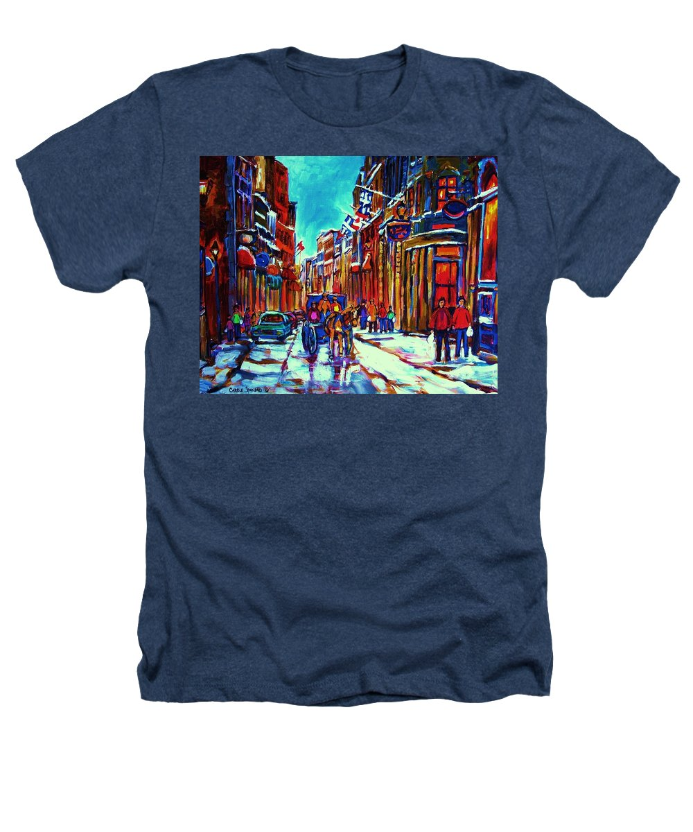 Old Montreal Heathers T-Shirt featuring the painting Carriage Ride Through The Old City by Carole Spandau