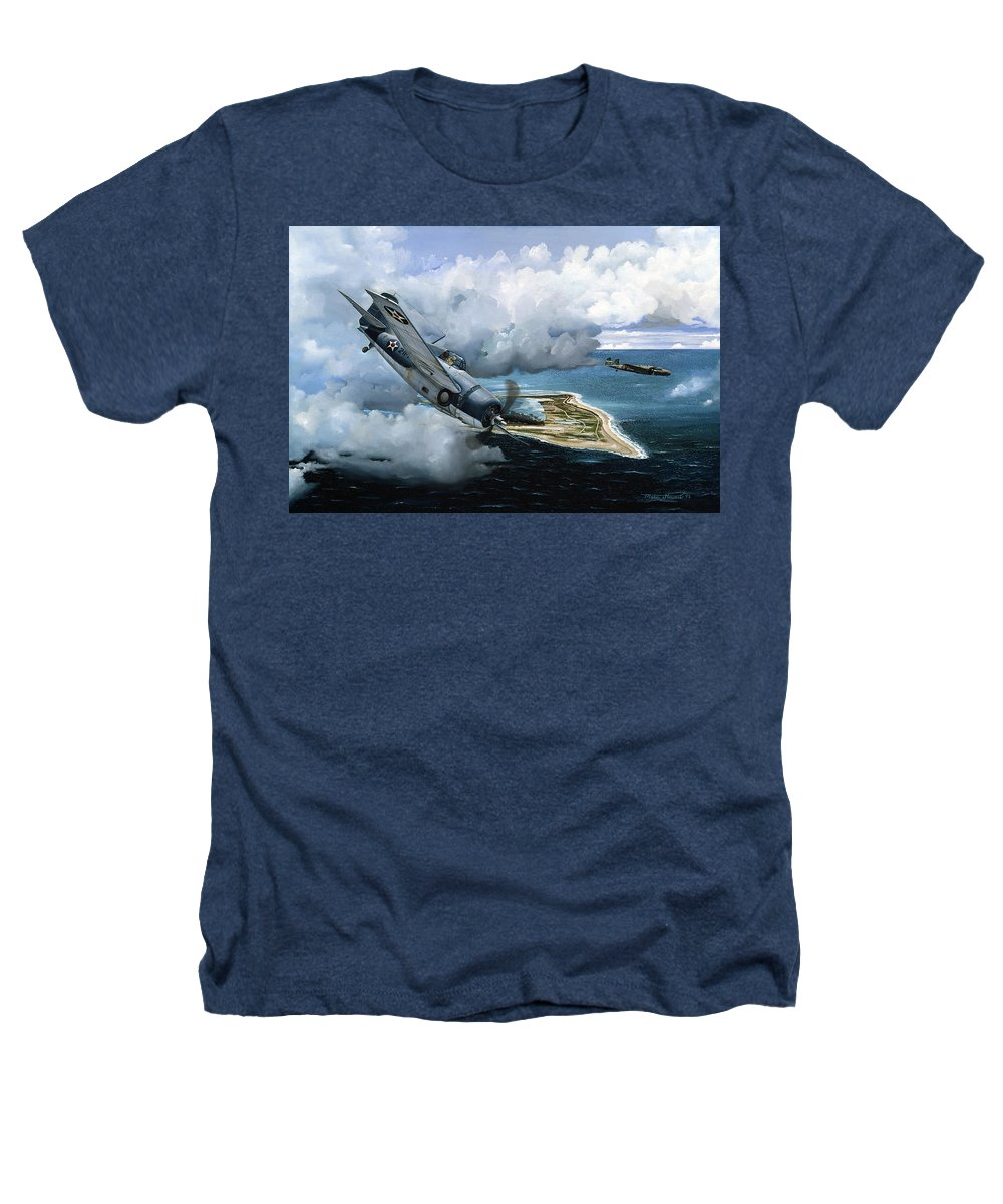 Military Heathers T-Shirt featuring the painting Cat And Mouse Over Wake by Marc Stewart