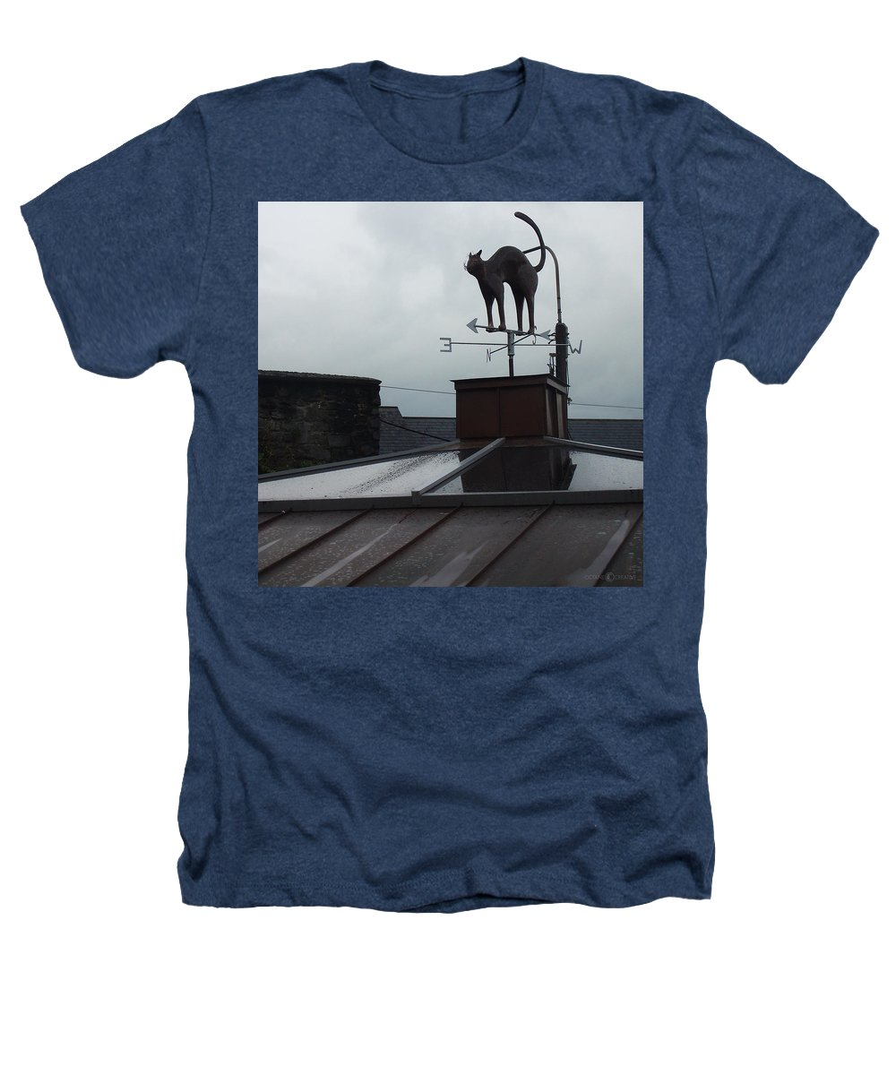 Cat Heathers T-Shirt featuring the photograph Cat On A Cool Tin Roof by Tim Nyberg