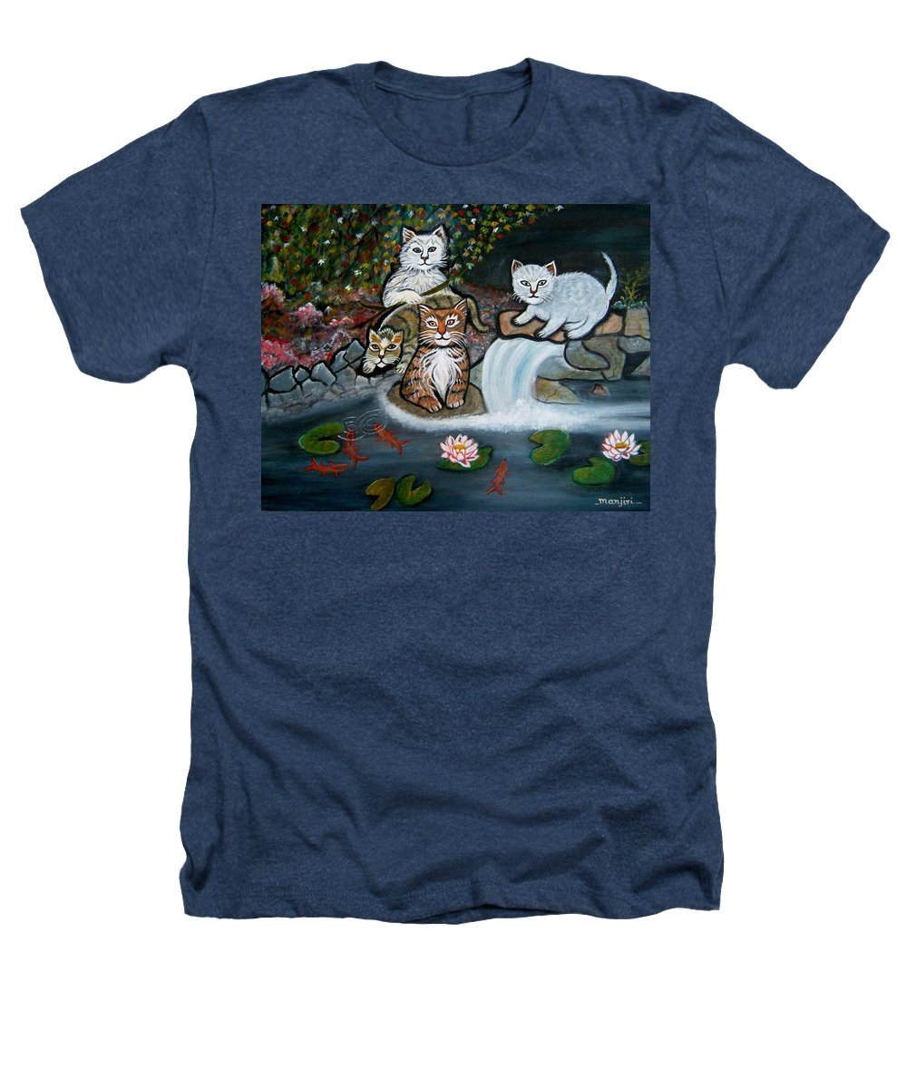 Acrylic Art Landscape Cats Animals Figurative Waterfall Fish Trees Heathers T-Shirt featuring the painting Cats In The Wild by Manjiri Kanvinde