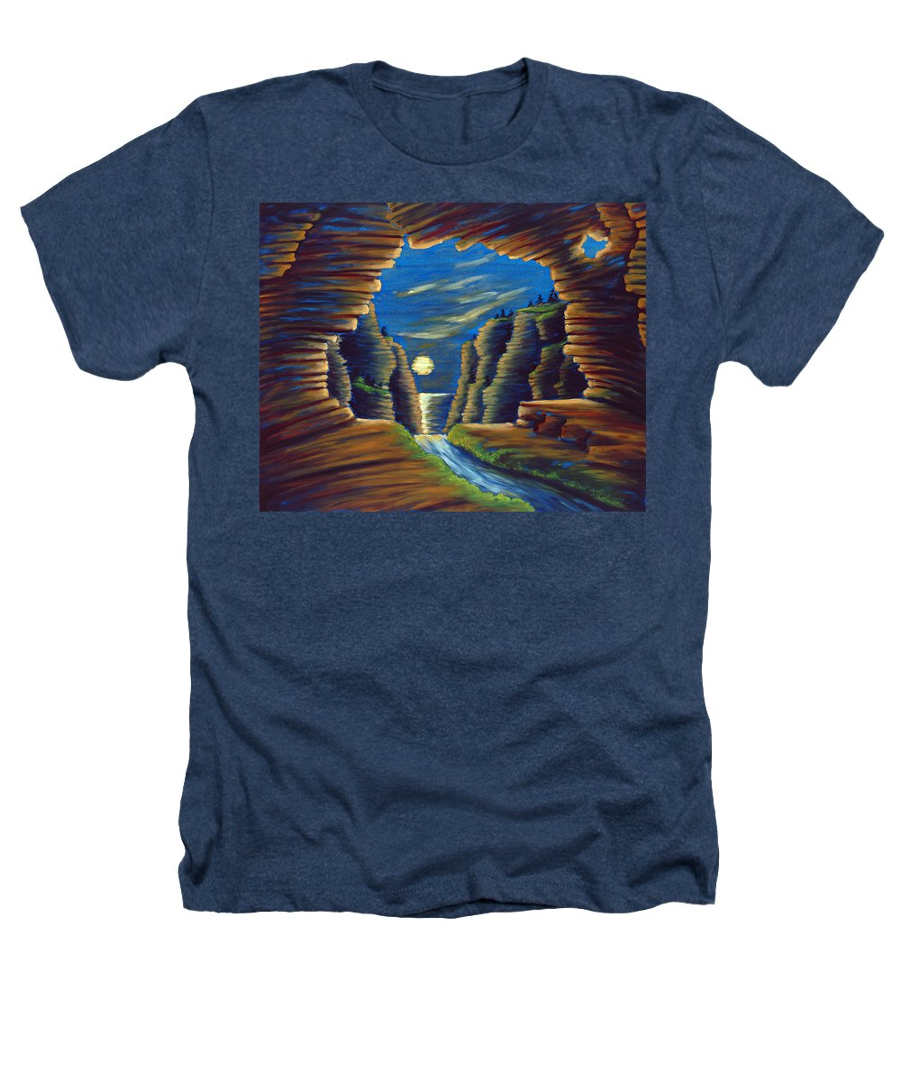Cave Heathers T-Shirt featuring the painting Cave With Cliffs by Jennifer McDuffie