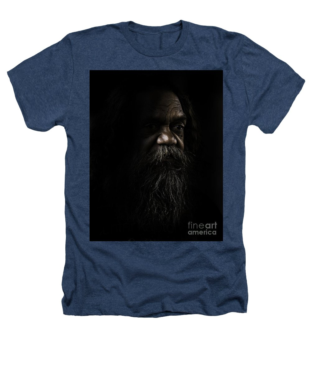 Fullblood Aborigine Heathers T-Shirt featuring the photograph Cedric In Shadows by Avalon Fine Art Photography