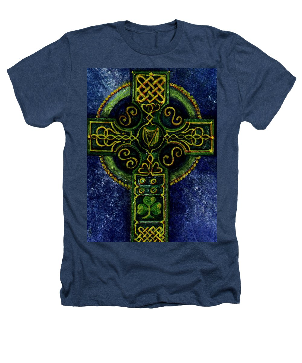 Elle Fagan Heathers T-Shirt featuring the painting Celtic Cross - Harp by Elle Smith Fagan