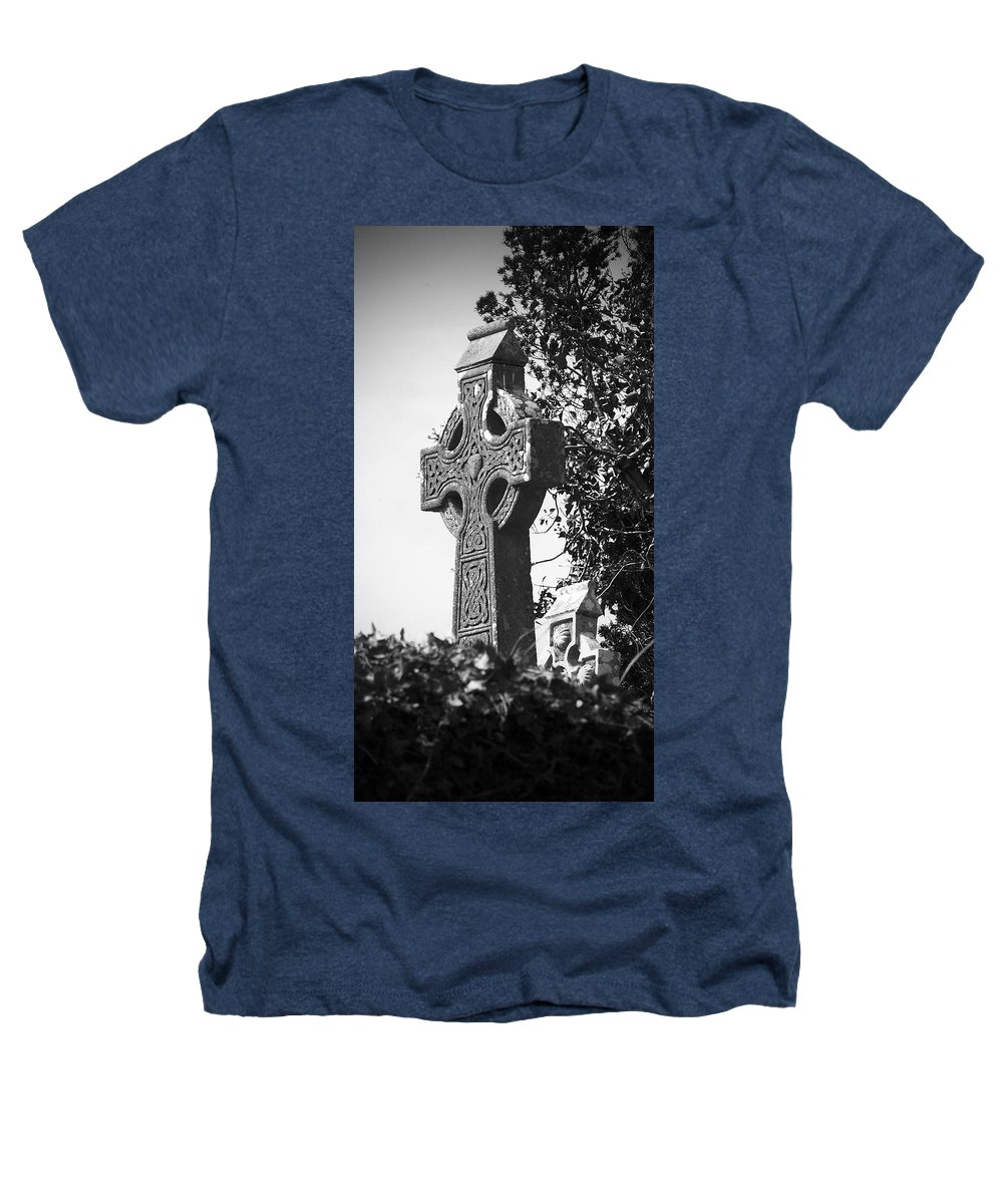 Celtic Heathers T-Shirt featuring the photograph Celtic Cross At Fuerty Cemetery Roscommon Ireland by Teresa Mucha