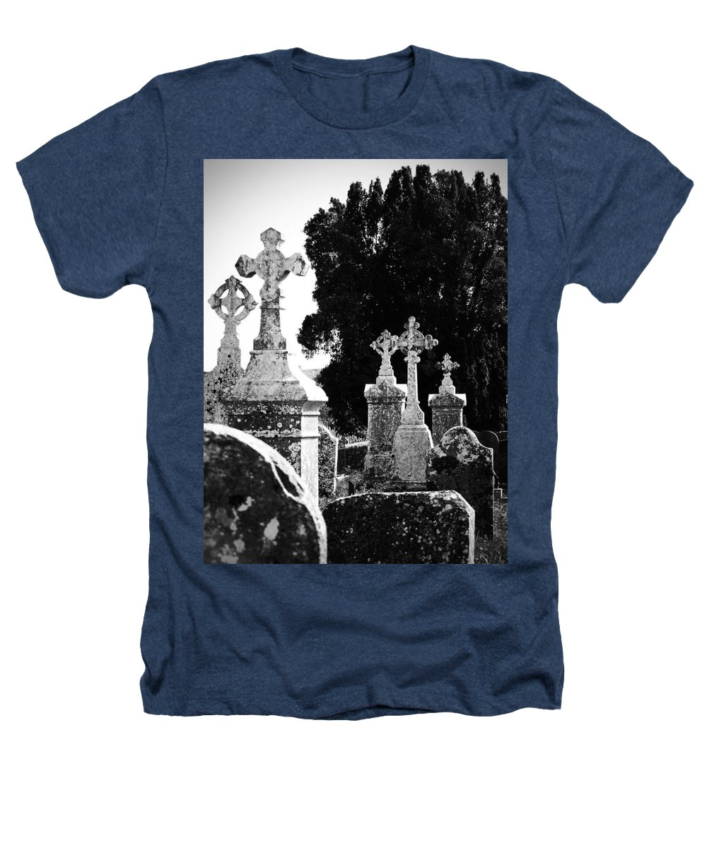 Celtic Heathers T-Shirt featuring the photograph Celtic Crosses At Fuerty Cemetery Roscommon Ireland by Teresa Mucha