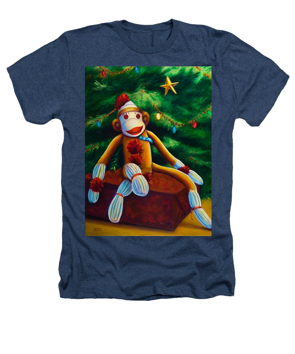 Sock Monkey Heathers T-Shirt featuring the painting Christmas Made Of Sockies by Shannon Grissom