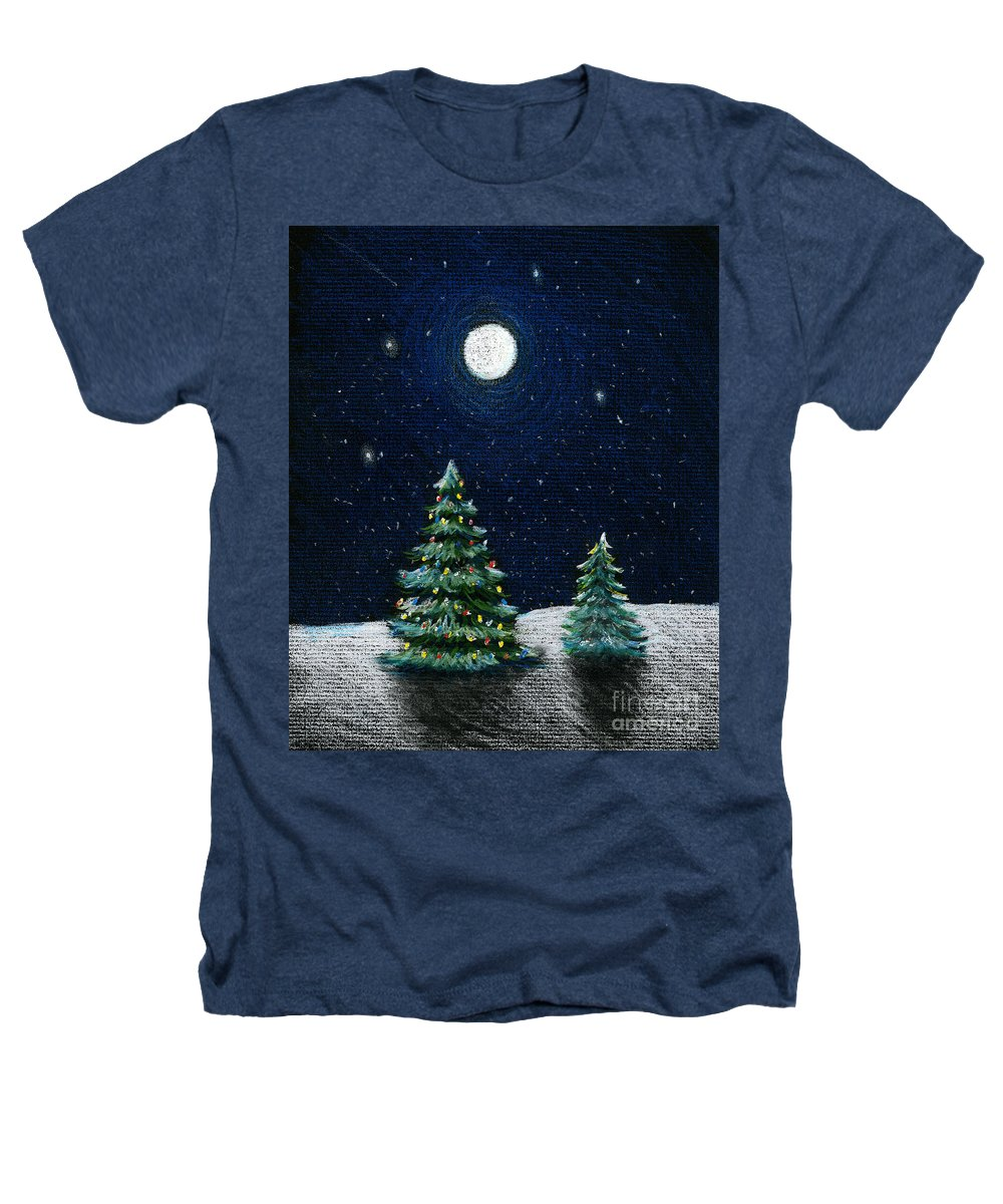 Christmas Trees Heathers T-Shirt featuring the drawing Christmas Trees In The Moonlight by Nancy Mueller
