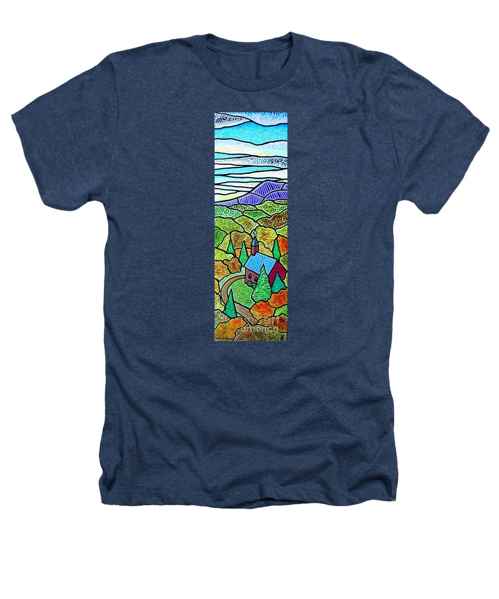 Church Heathers T-Shirt featuring the painting Church In The Wildwood by Jim Harris
