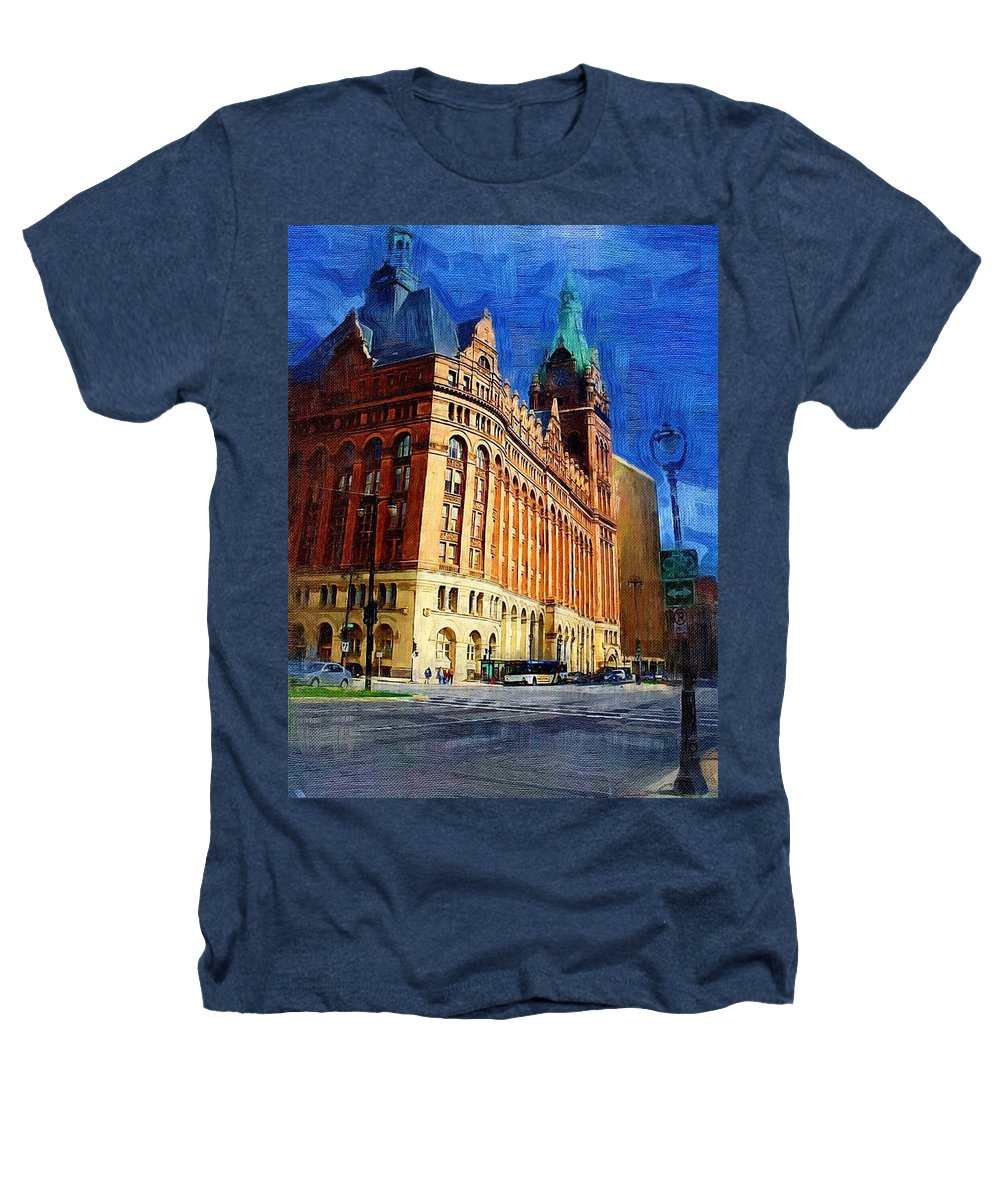 Architecture Heathers T-Shirt featuring the digital art City Hall And Lamp Post by Anita Burgermeister