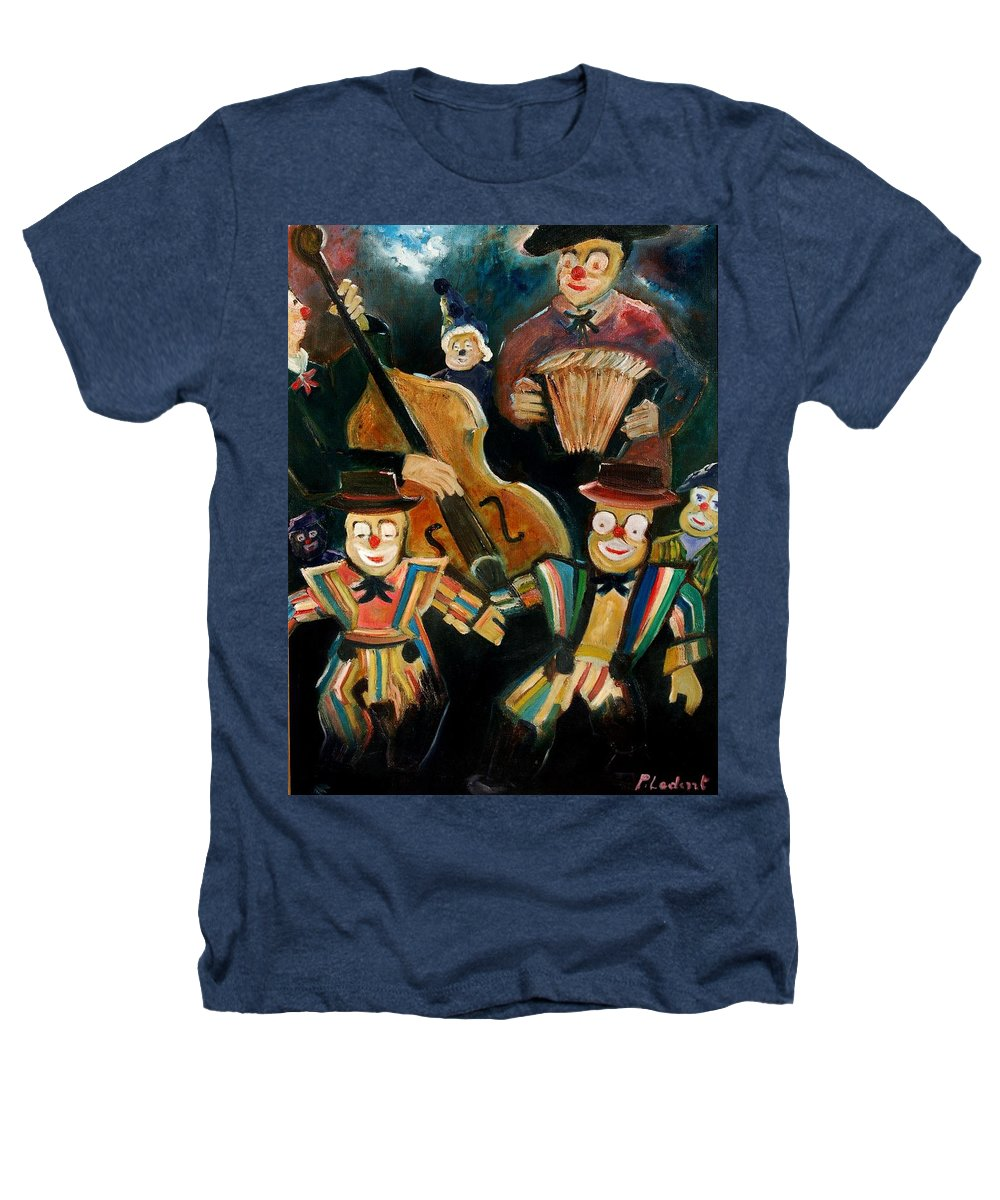 Clowns Circus Heathers T-Shirt featuring the print Clowns by Pol Ledent