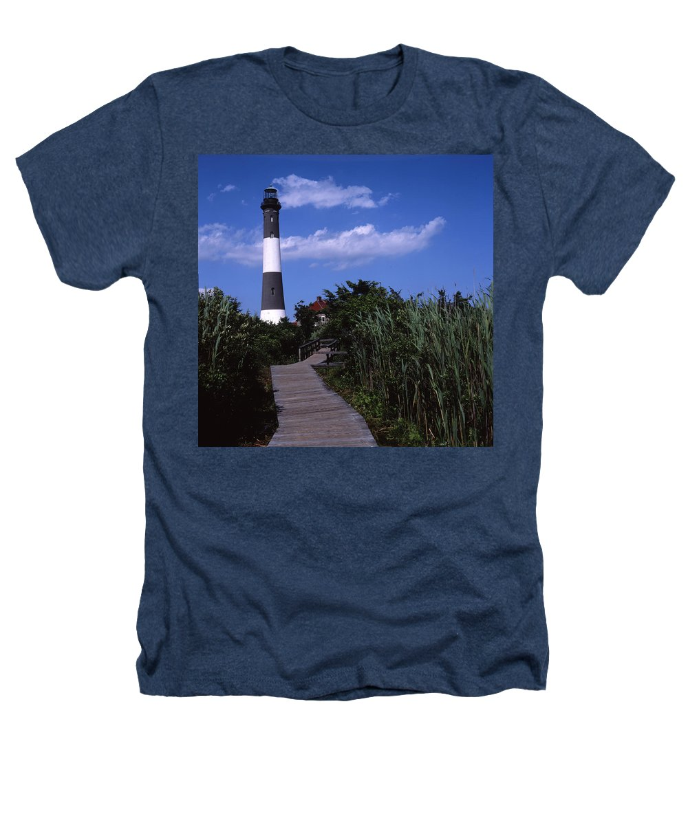Landscape Lighthouse Fire Island Heathers T-Shirt featuring the photograph Cnrf0702 by Henry Butz