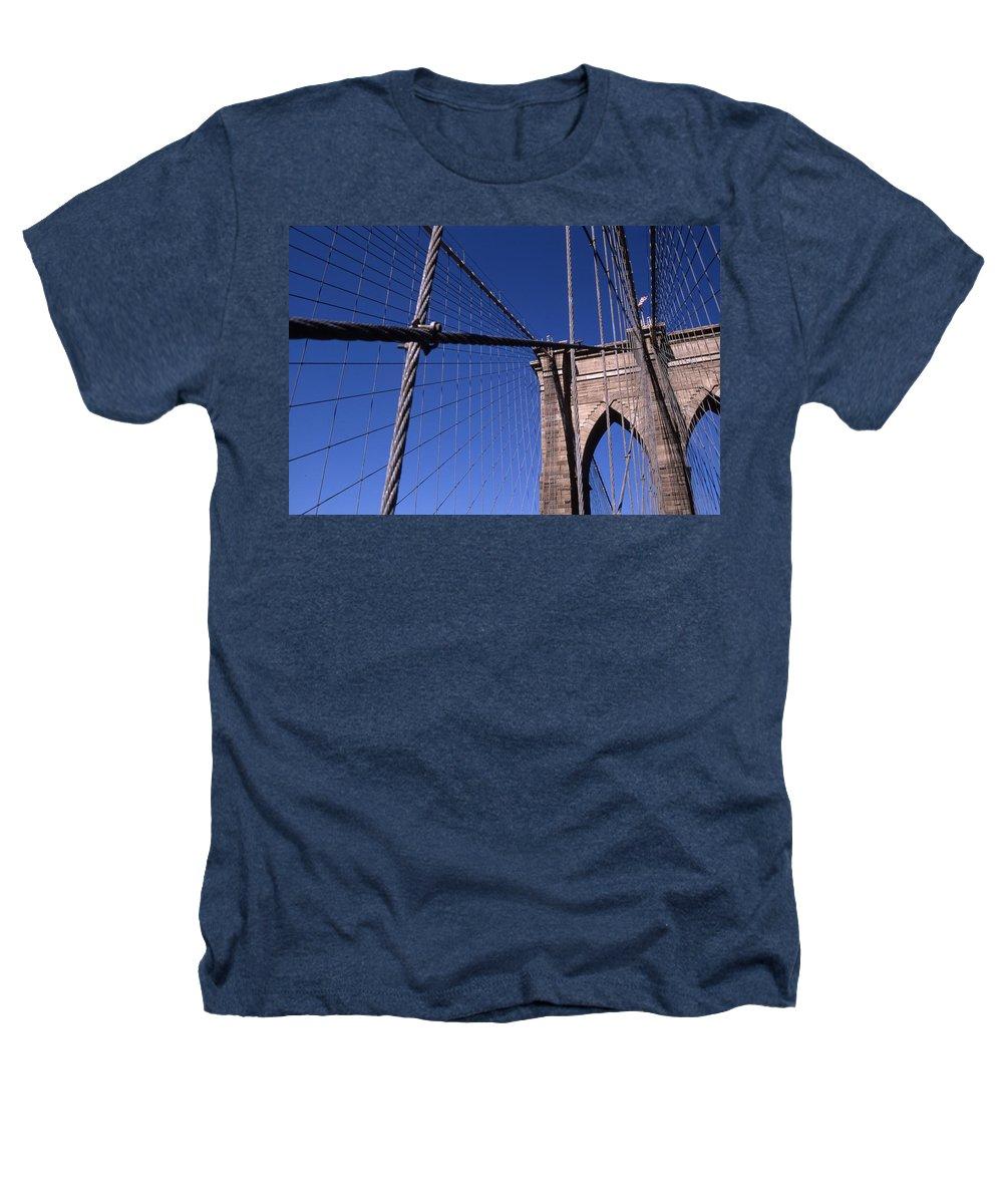 Landscape Brooklyn Bridge New York City Heathers T-Shirt featuring the photograph Cnrg0405 by Henry Butz