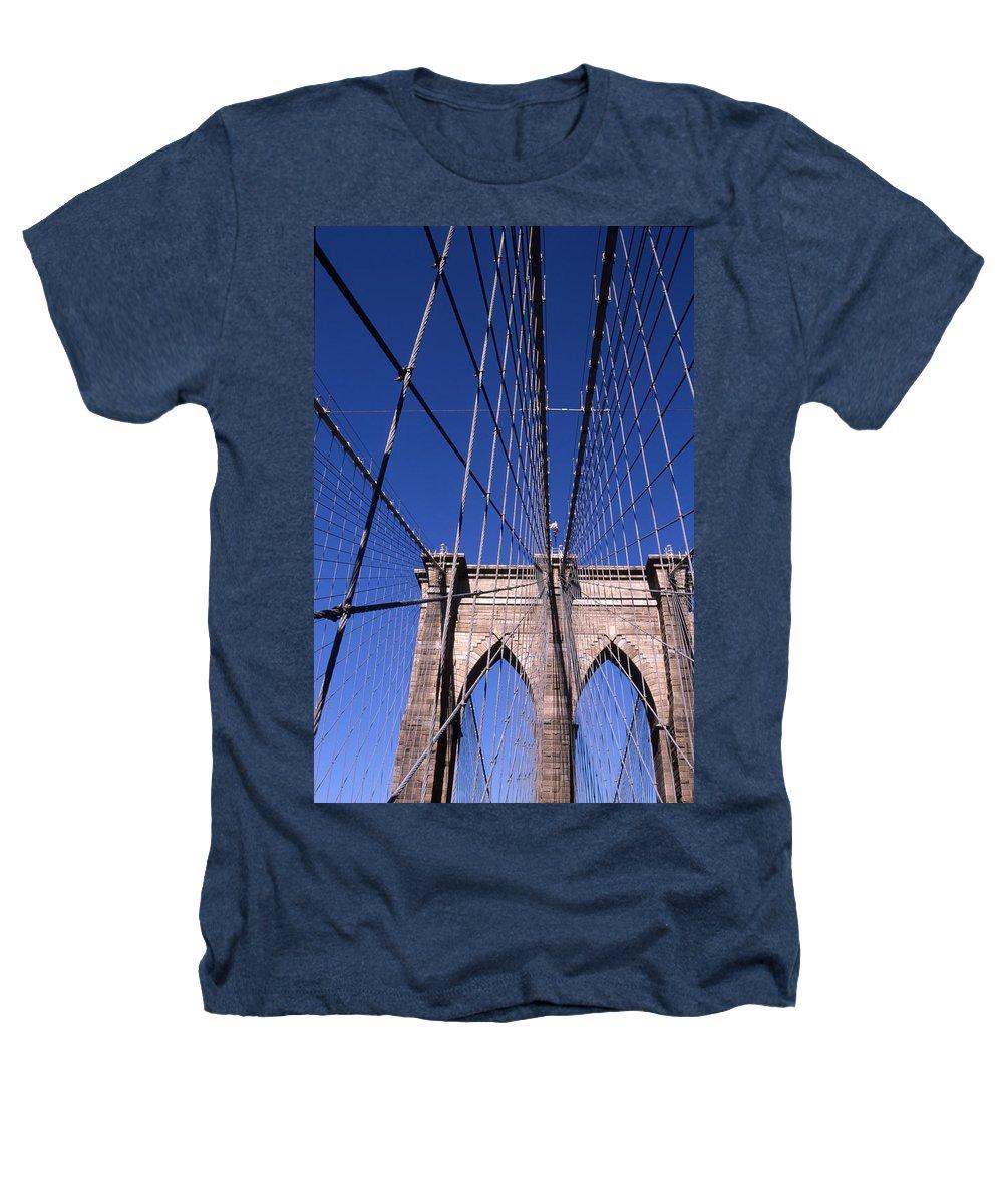 Landscape Brooklyn Bridge New York City Heathers T-Shirt featuring the photograph Cnrg0407 by Henry Butz