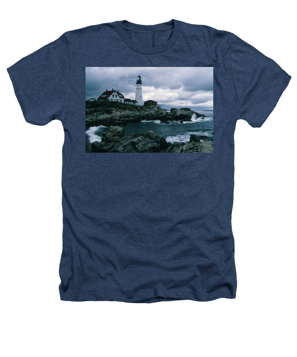 Landscape New England Lighthouse Nautical Storm Coast Heathers T-Shirt featuring the photograph Cnrg0601 by Henry Butz