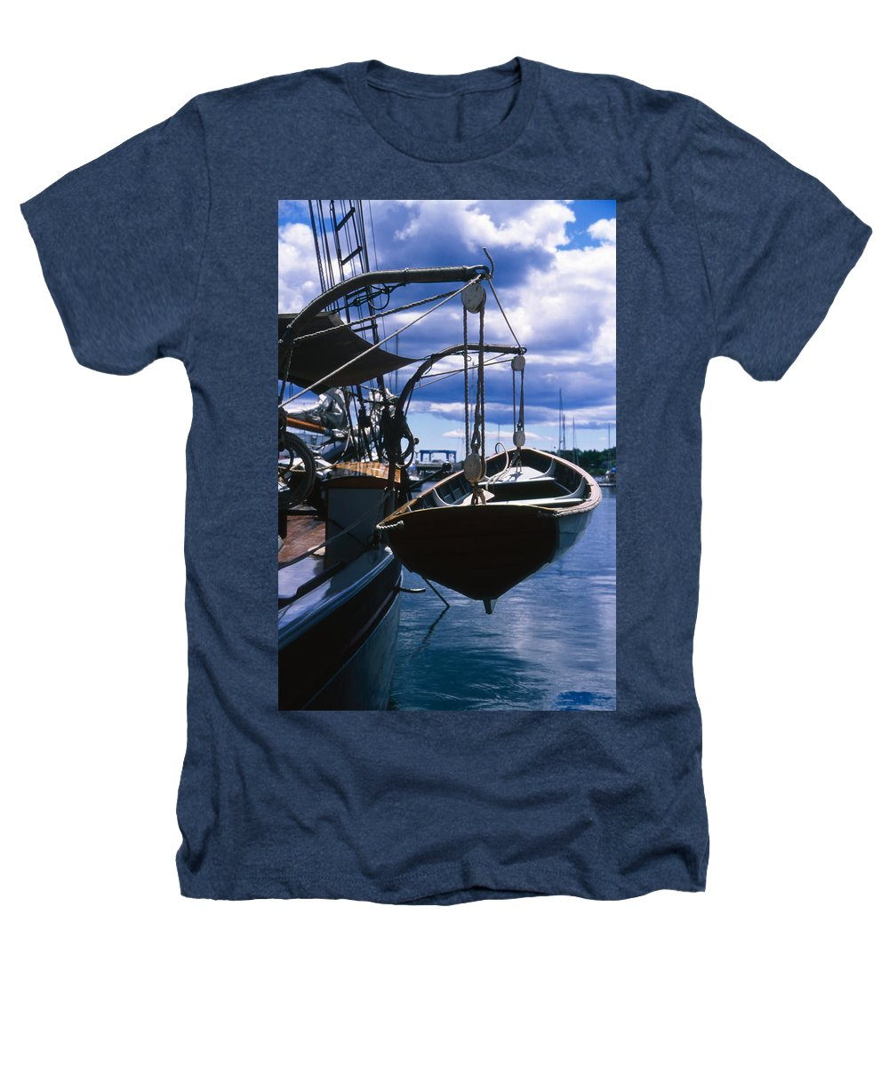 Landscape Camden Harbor Maine Sail Boat Harbor Nautical Heathers T-Shirt featuring the photograph Cnrh0601 by Henry Butz