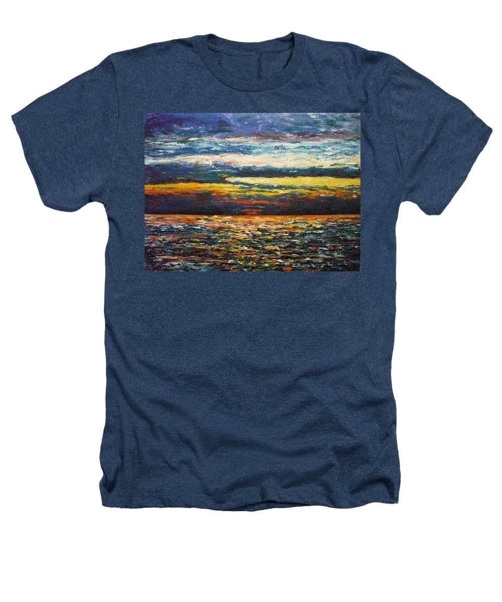 Landscape Heathers T-Shirt featuring the painting Cold Sunset by Ericka Herazo