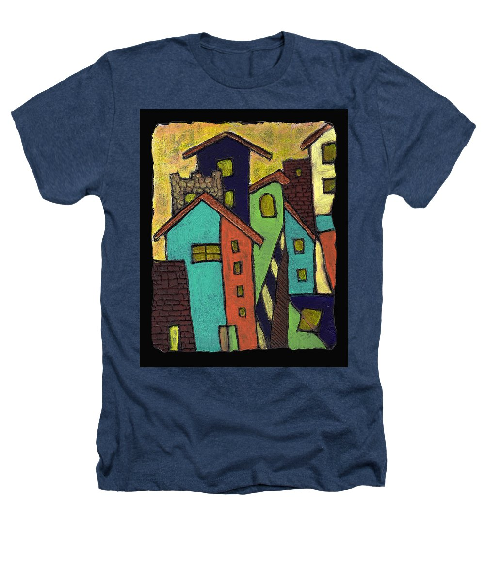 City Heathers T-Shirt featuring the painting Colorful Neighborhood by Wayne Potrafka