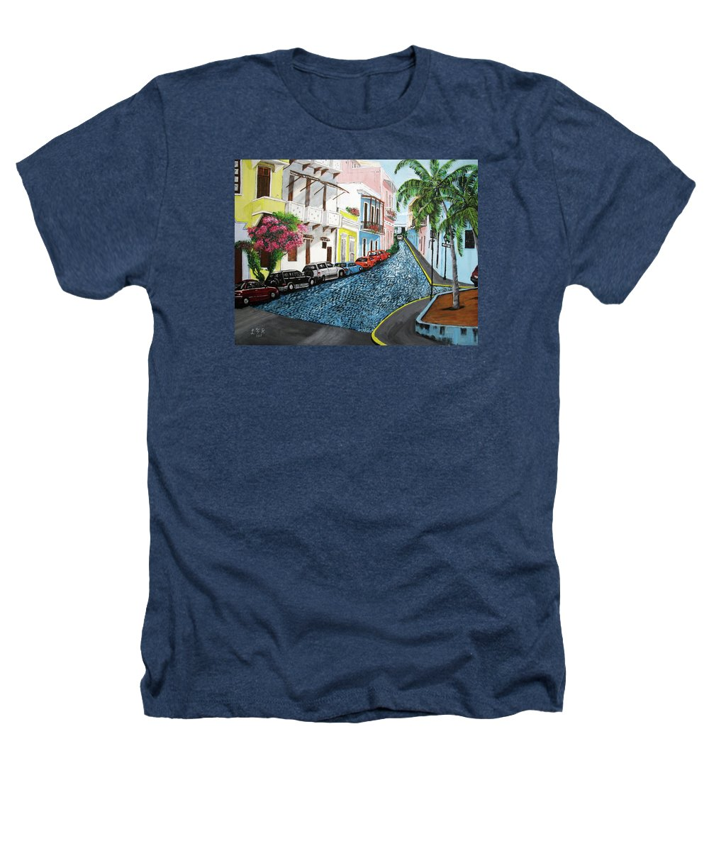 Old San Juan Heathers T-Shirt featuring the painting Colorful Old San Juan by Luis F Rodriguez