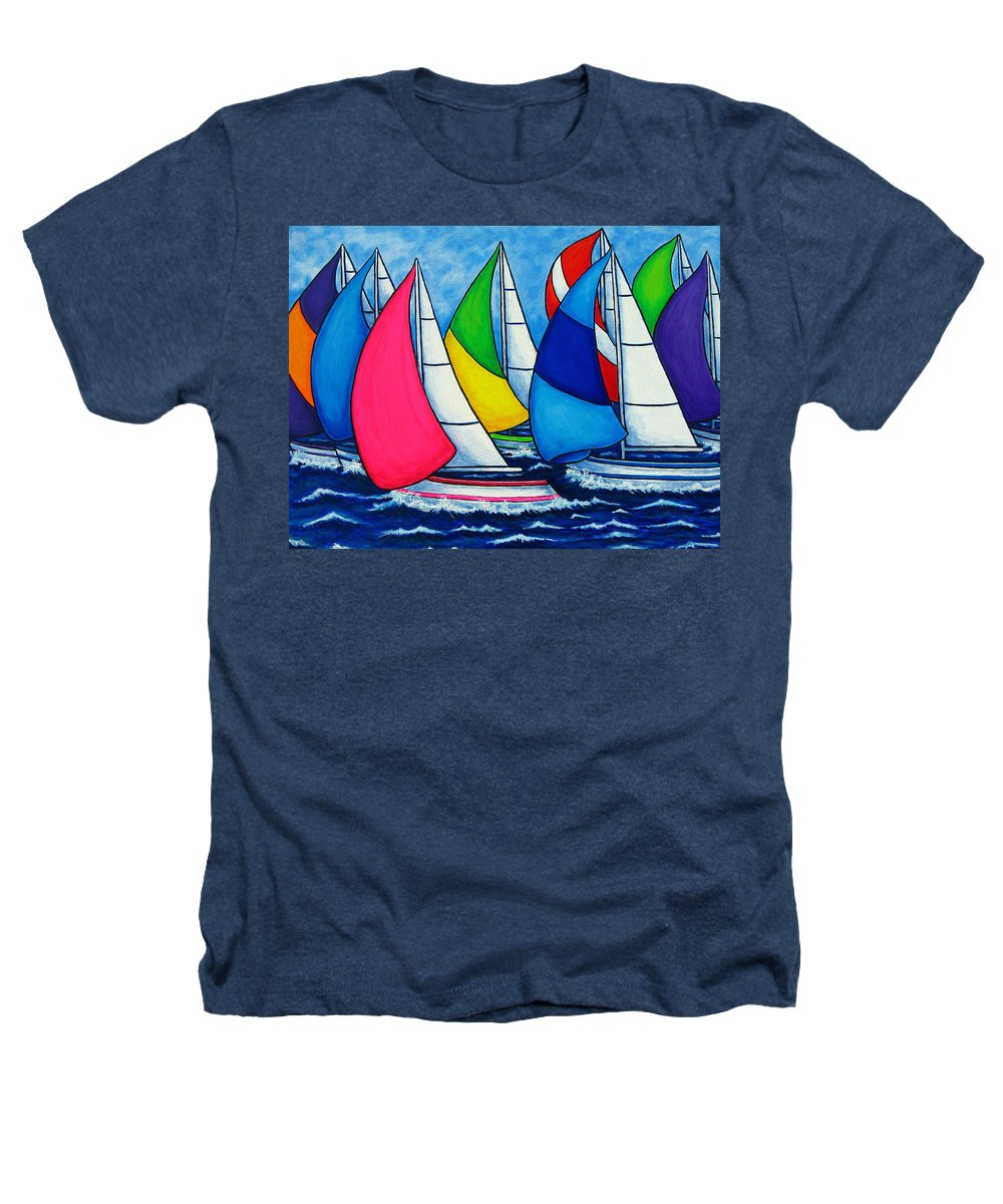 Boats Heathers T-Shirt featuring the painting Colourful Regatta by Lisa Lorenz