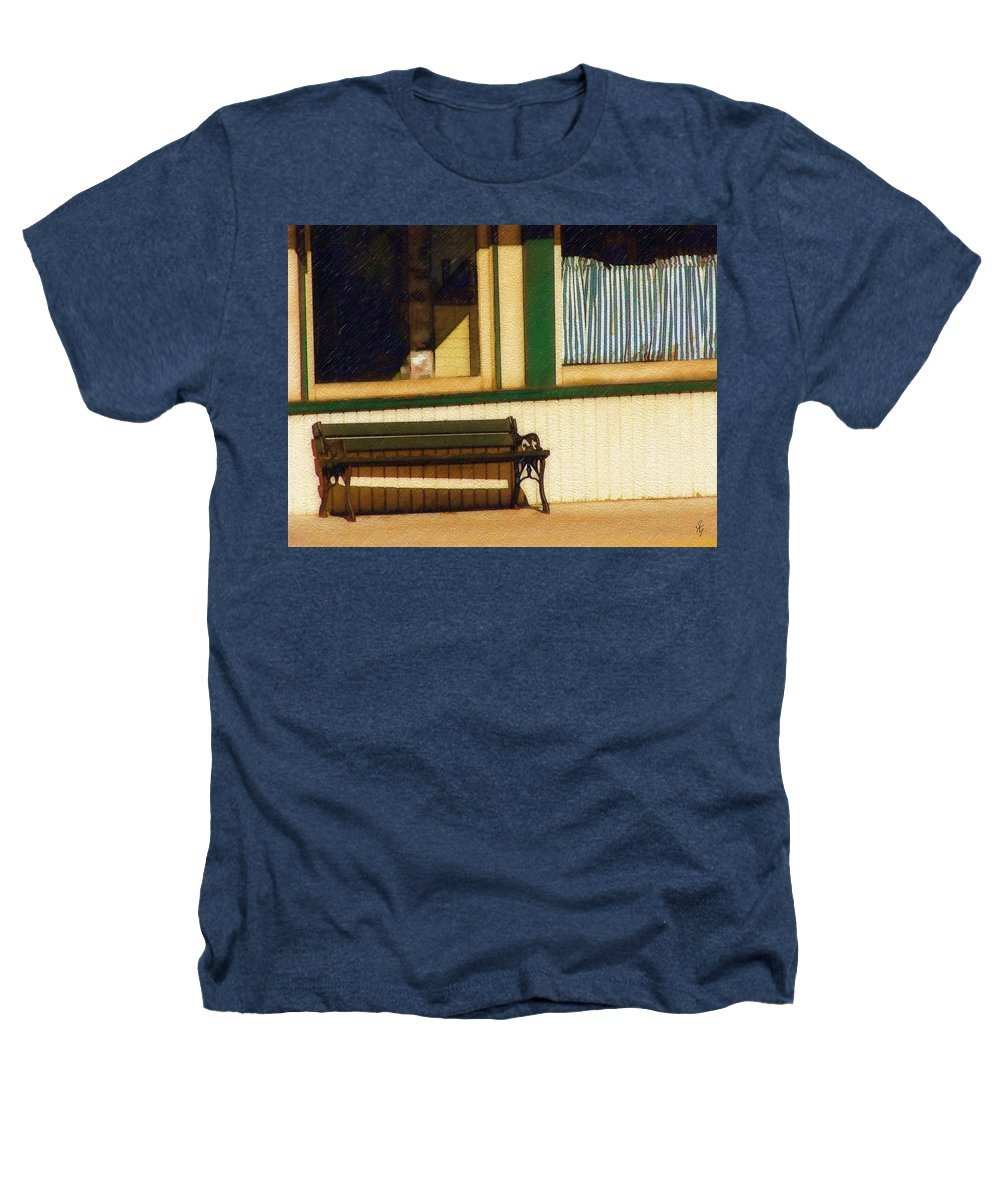Bench Heathers T-Shirt featuring the photograph Come Sit A Spell by Sandy MacGowan