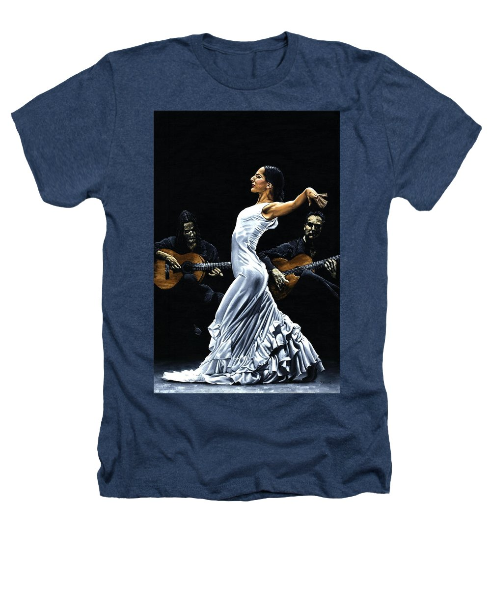 Flamenco Heathers T-Shirt featuring the painting Concentracion Del Funcionamiento Del Flamenco by Richard Young