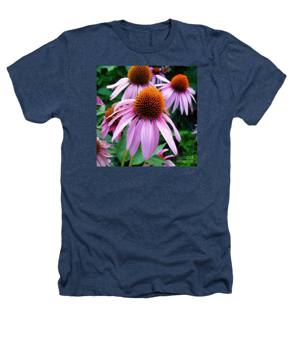 Coneflowers Heathers T-Shirt featuring the photograph Three Coneflowers by Nancy Mueller