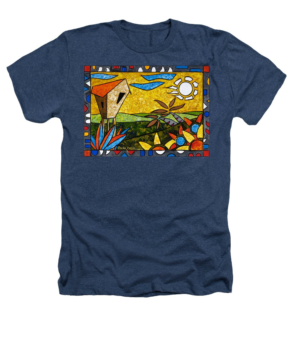 Puerto Rico Heathers T-Shirt featuring the painting Country Peace by Oscar Ortiz