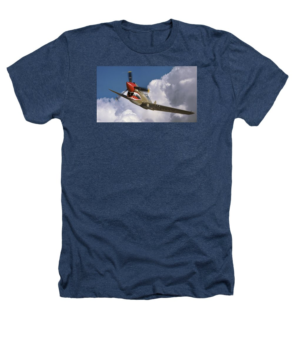 Flying Tigers Heathers T-Shirt featuring the photograph Curtiss P-40n Warhawk by Larry McManus