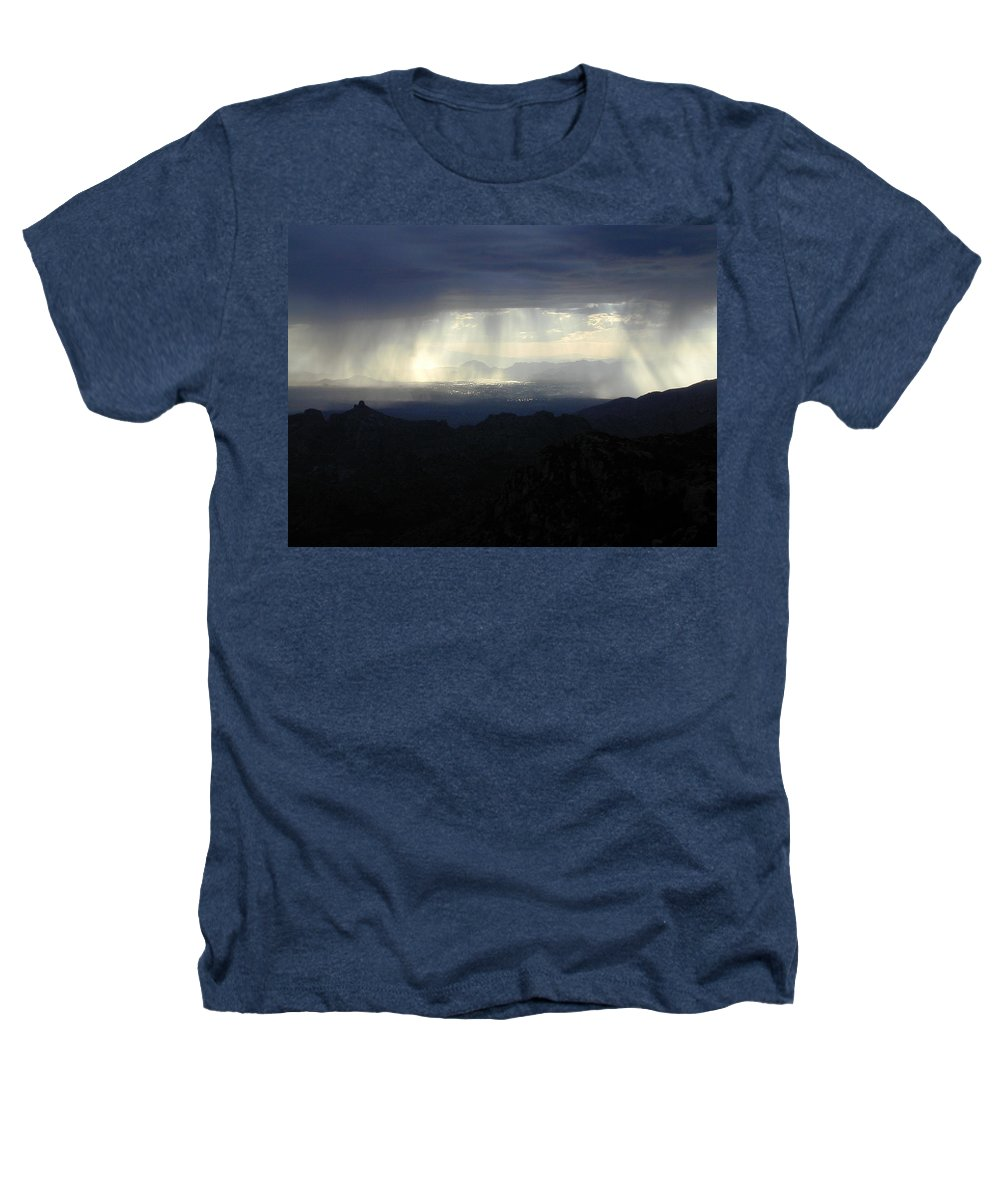 Darkness Heathers T-Shirt featuring the photograph Darkness Over The City by Douglas Barnett