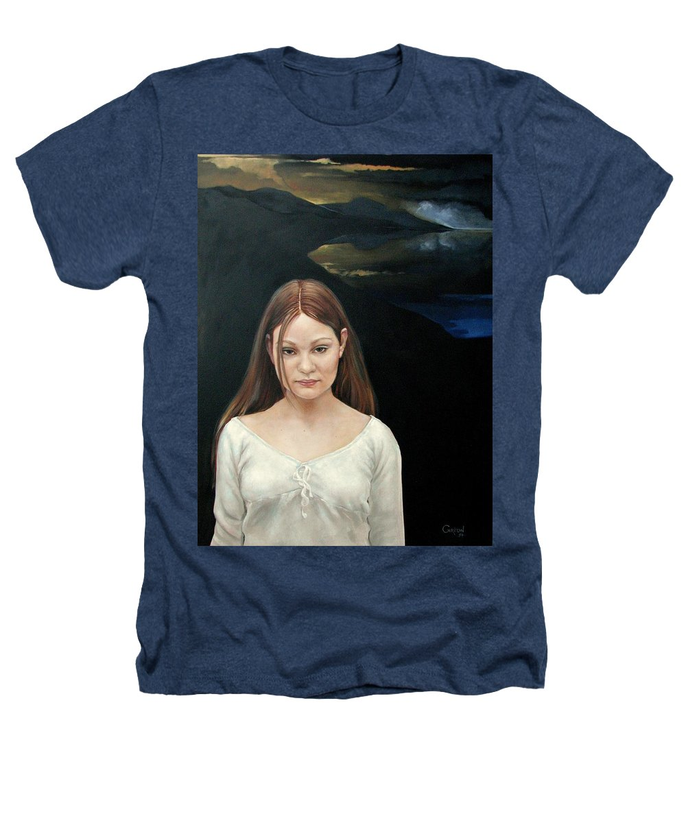 Facial Expressioin Heathers T-Shirt featuring the painting Defiant Girl 2004 by Jerrold Carton