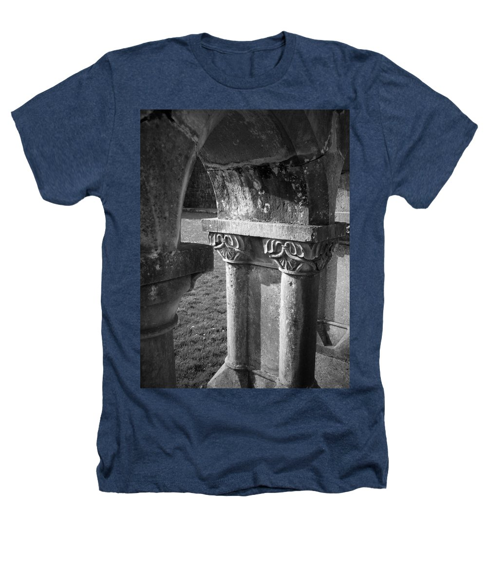 Irish Heathers T-Shirt featuring the photograph Detail Of Cloister At Cong Abbey Cong Ireland by Teresa Mucha