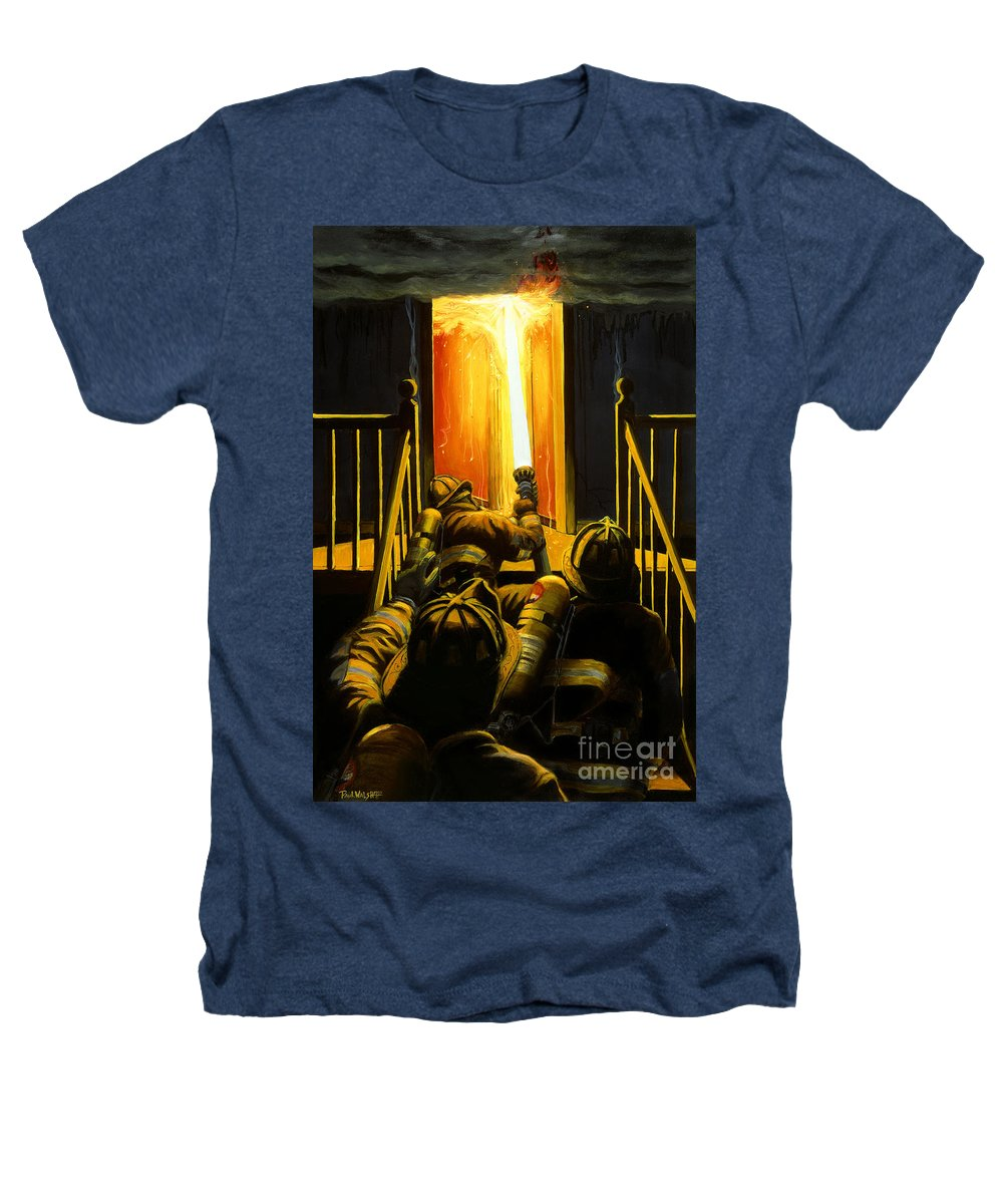 Firefighting Heathers T-Shirt featuring the painting Devil's Stairway by Paul Walsh