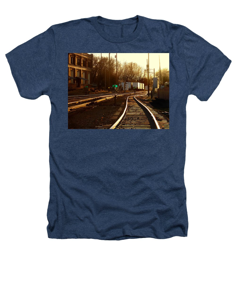 Landscape Heathers T-Shirt featuring the photograph Down The Right Track 2 by Steve Karol